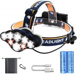 Amazon: Hezue Superheller Wiederaufladbare 8 LED Stirnlampe mit Gutschein für nur 11,30 Euro statt 22,77 Euro