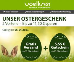 Voelkner: Ostergeschenk Gutscheine für gratis Versand und 5,50 Euro Rabatt