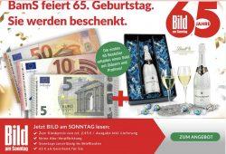 4 x Bild am Sonntag (9,80 Euro) + 65€ Geldprämie absahnen!