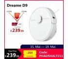 Dreame D9 Saugroboter Wischroboter  3000Pa APP Weiß für 239,99€statt PVG Idealo 260,36€ @ebay