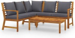 Ebay: vidaXL Garten Lounge Massivholz Akazie mit Auflagen für nur 358,99 Euro statt 464,59 Euro bei Idealo