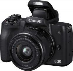 Mediamarkt: CANON EOS M50 Touchscreen WLAN Kit Systemkamera mit Objektiv 15-45 mm f/3.5-6.3 für nur 444 Euro statt 565 Euro bei Idealo