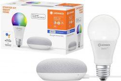 Voelkner: LEDVANCE Smart Home Starter Kit mit Google Home Mini und RGBW Leuchtmittel für nur 22 Euro statt 54,96 Euro bei Idealo