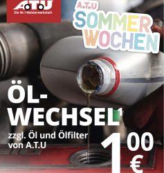 ATU: Ölwechsel 1€ zzgl. Kosten für Öl und Ölfilter