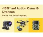 Ebay: 15% Rabatt auf Action Cams und Drohnen mit Gutschein ohne MBW
