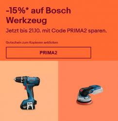Ebay: 15% Rabatt auf Bosch Blau Werkzeug mit Gutschein ohne MBW